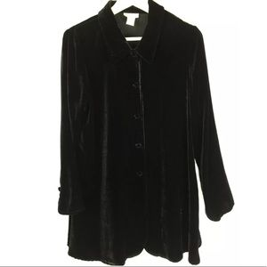 Soft Surroundings Black Velvet Tunic Button Down